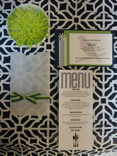 Invitation, menu, and design by Spunky Sapphire Events--www.theSpunkySapphire.wordpress.com
